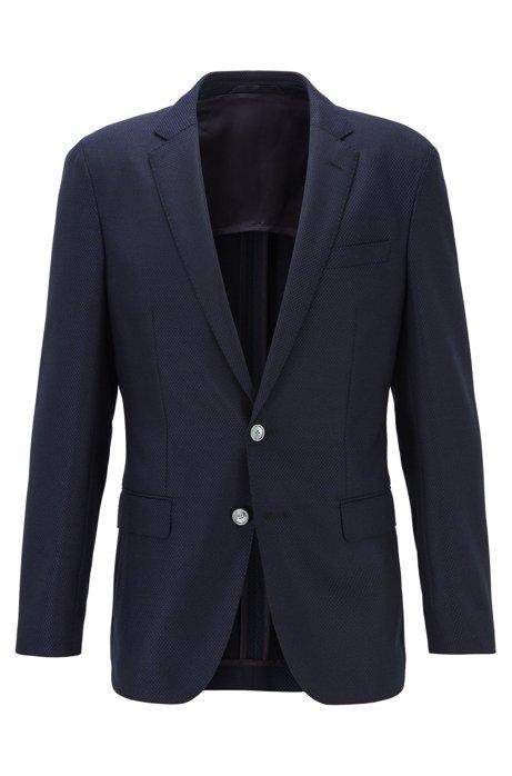 Slim-fit jacket in micro-patterned traceable wool, Open Blue