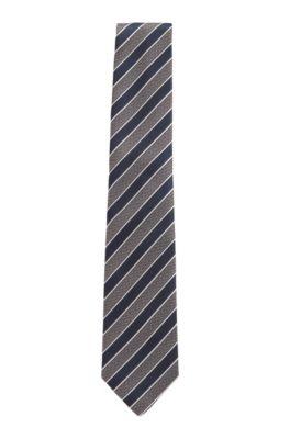 Italian-made tie in diagonal-stripe silk jacquard, Dark Blue
