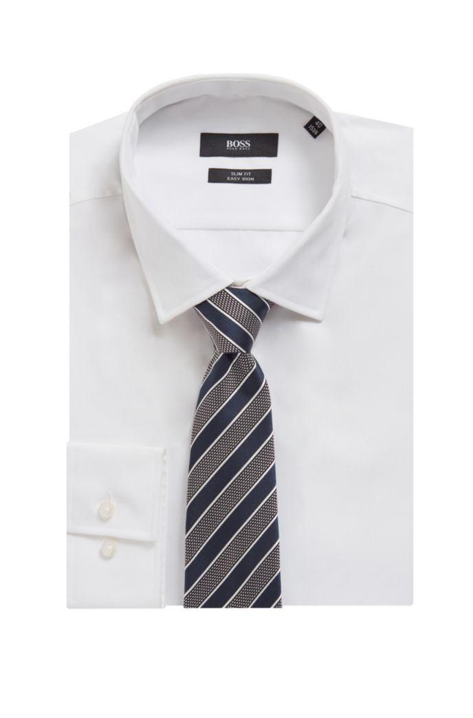 Italian-made tie in diagonal-stripe silk jacquard
