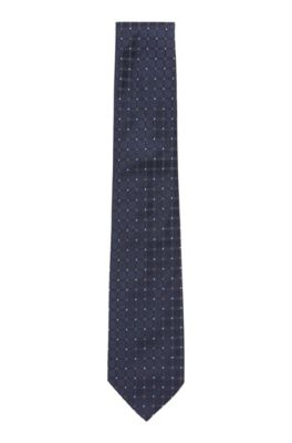 Handmade tie in patterned silk jacquard, Light Blue
