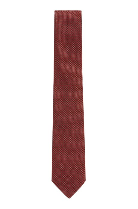 Handmade tie in patterned silk jacquard, Orange
