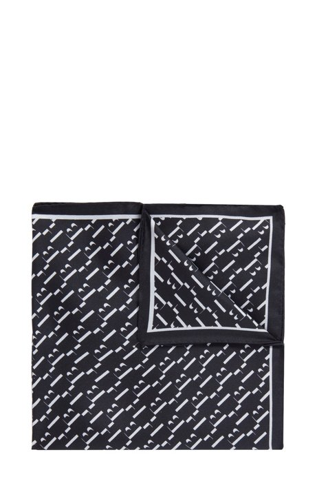 Patterned pocket square in pure silk, Dark Blue