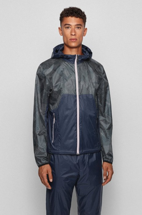 Water-repellent hooded jacket with geometric-print ripstop fabric, Dark Blue