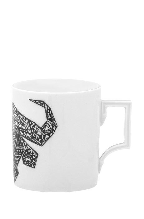 Limited-edition porcelain mug with buffalo motif, White