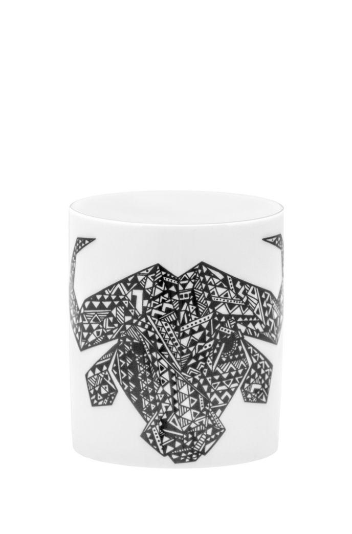 Limited-edition porcelain mug with buffalo motif