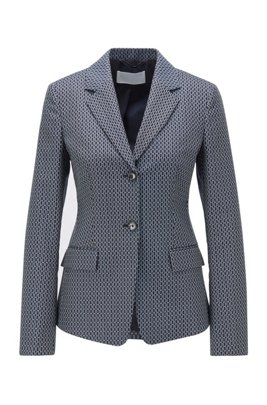 Regular-fit jacket with jacquard-woven monogram motif, Patterned