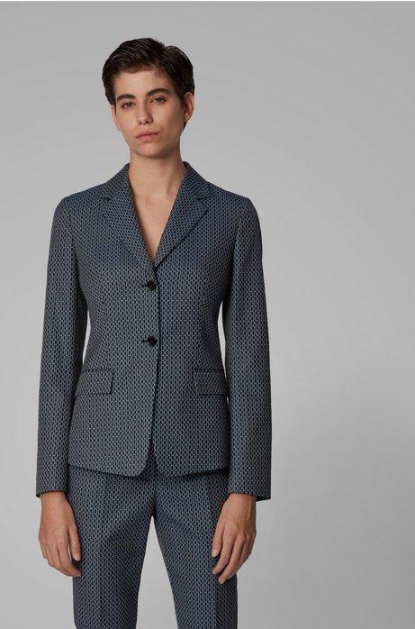 Regular-fit jacket with jacquard-woven monogram motif, Patterned