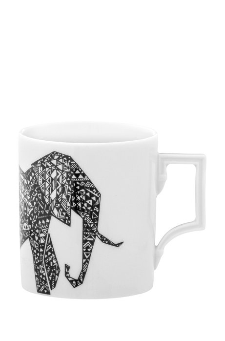 Limited-edition porcelain mug with elephant motif, White