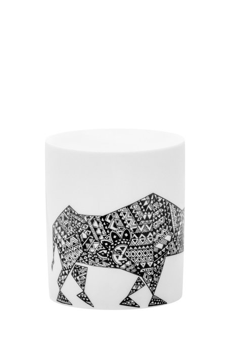 Limited-edition porcelain mug with rhino motif, White