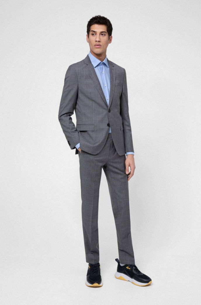 Extra-slim-fit jacket in checked virgin wool