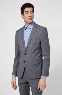 Extra-slim-fit jacket in checked virgin wool, Light Grey