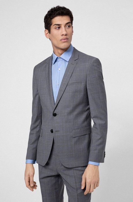 Extra-slim-fit jacket in checked virgin wool, Light Grey