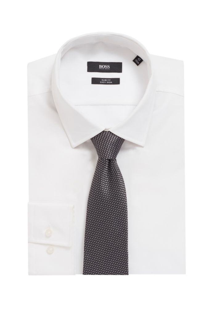 Italian-made tie in silk with jacquard-woven pattern
