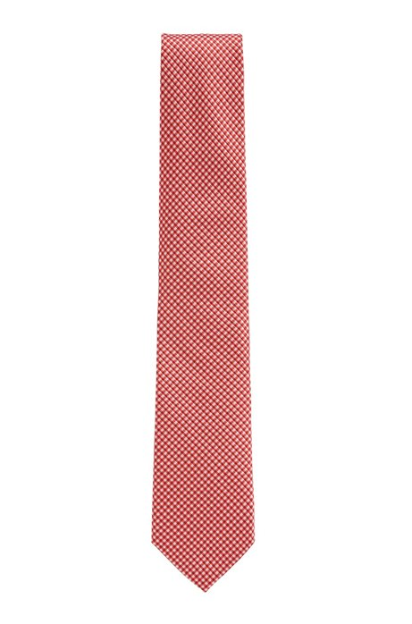 Silk tie with jacquard-woven Vichy check, Orange