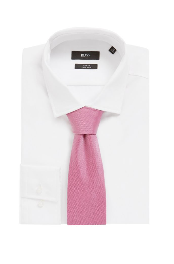 Tie in pure silk with jacquard structure