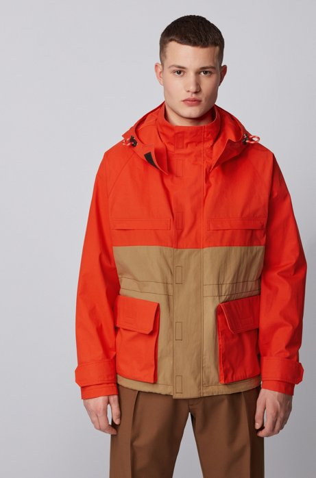 Regular-fit jacket in water-repellent waxed cotton, Orange