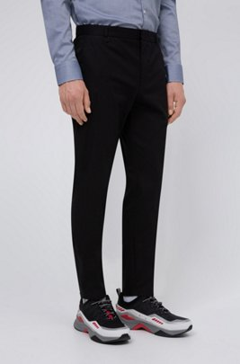 Extra-slim-fit stretch-cotton pants with belt loops, Black