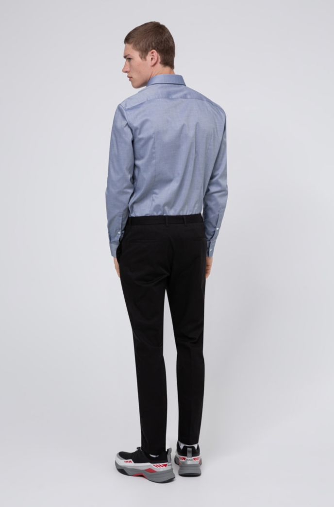 Extra-slim-fit stretch-cotton pants with belt loops