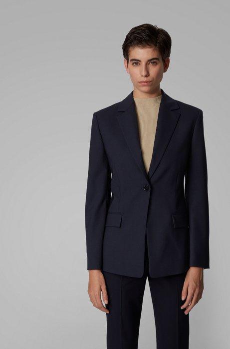 Slim-fit jacket in traceable stretch virgin wool, Light Blue