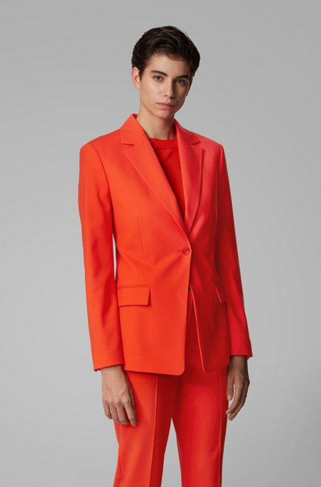 Slim-fit jacket in traceable stretch virgin wool, Orange