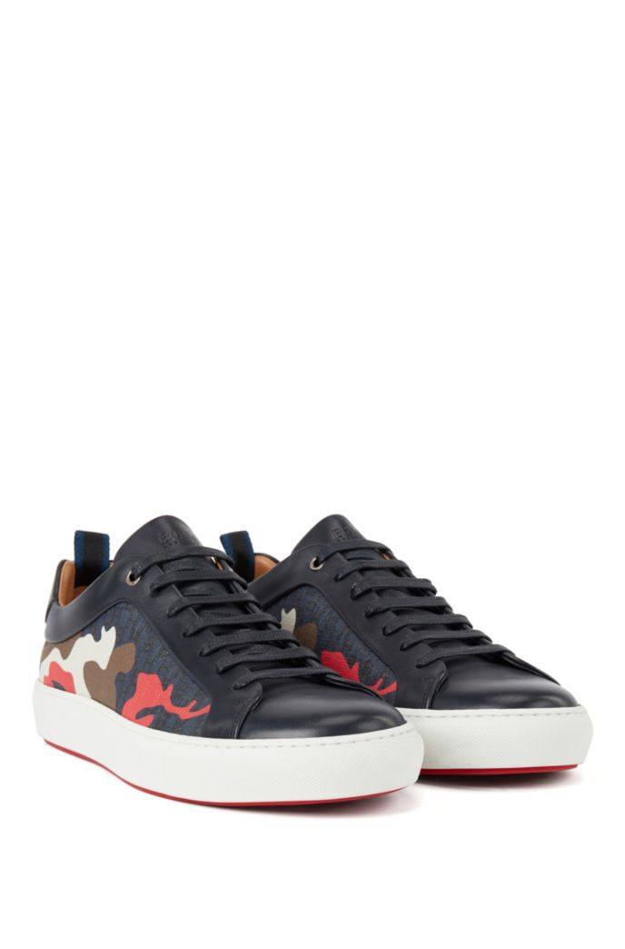 Camouflage-pattern sneakers with calf-leather trims