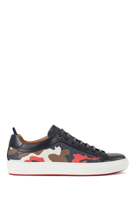 Camouflage-pattern sneakers with calf-leather trims, Light Blue