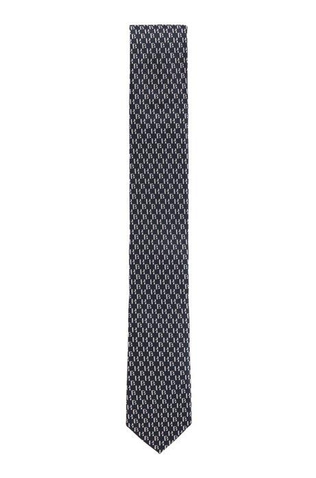Silk tie with jacquard monogram motif, Dark Blue