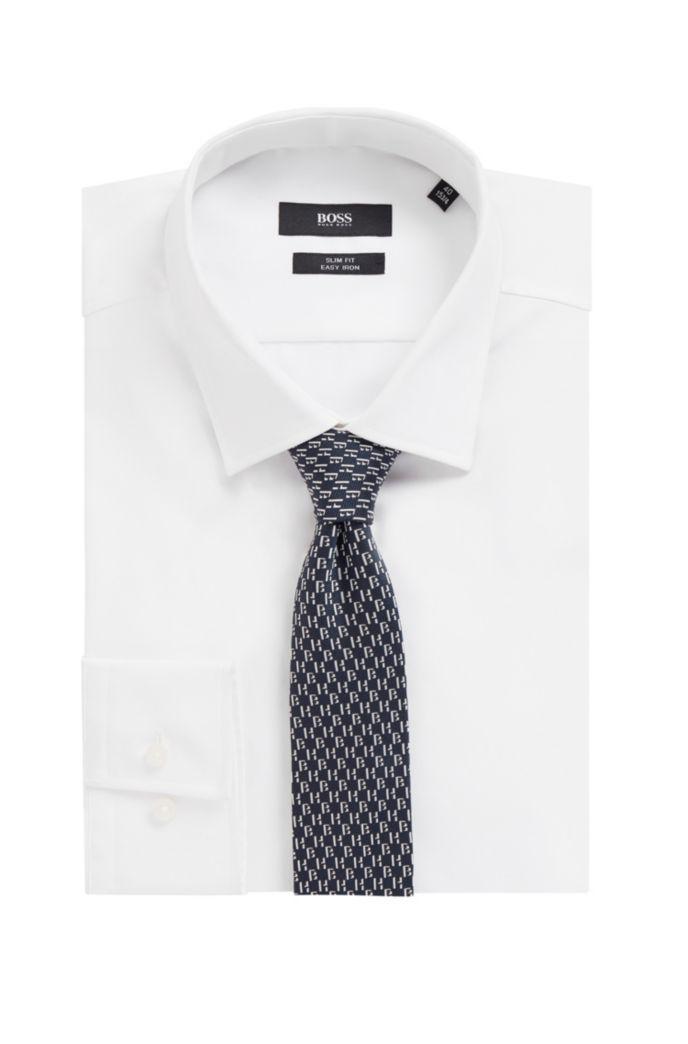 Silk tie with jacquard monogram motif