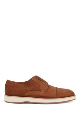 Derby shoes in calf suede with rubber sole, Dark Brown