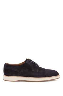 Derby shoes in calf suede with rubber sole, Dark Blue