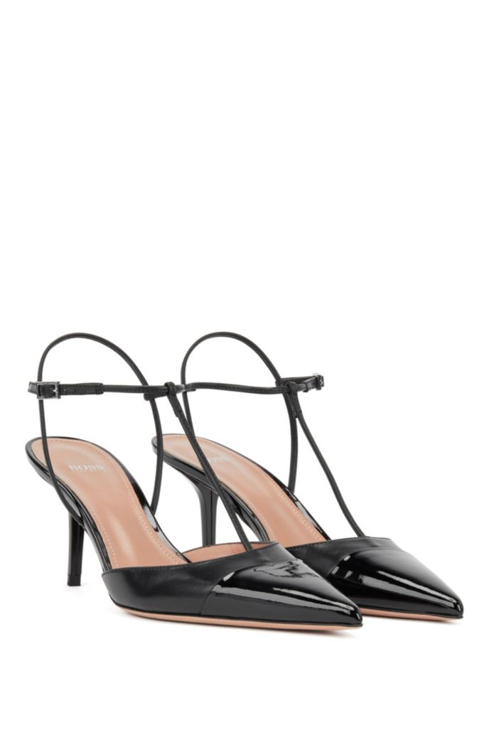 T-bar slingback pumps in nappa leather with patent toe