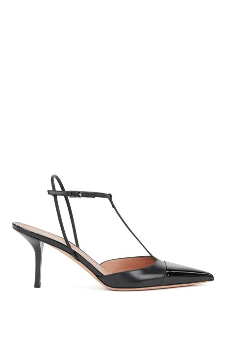 T-bar slingback pumps in nappa leather with patent toe, Black