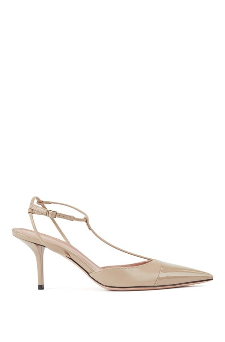 T-bar slingback pumps in nappa leather with patent toe, Brown
