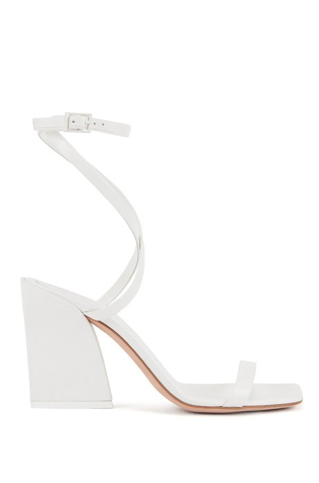 Strappy leather sandals with flared block heel, Natural