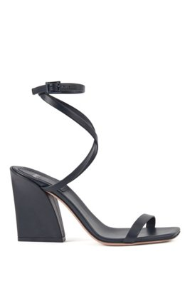 Strappy leather sandals with flared block heel, Dark Blue