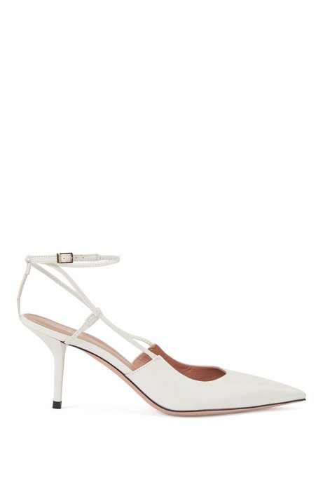 Heeled slingback pumps in Italian nappa leather, Natural