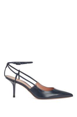 Heeled slingback pumps in Italian nappa leather, Dark Blue