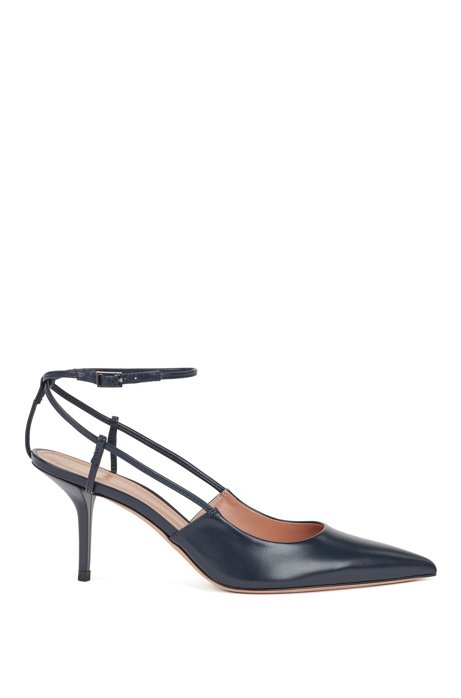 Heeled slingback pumps in Italian nappa leather, Dark Blue