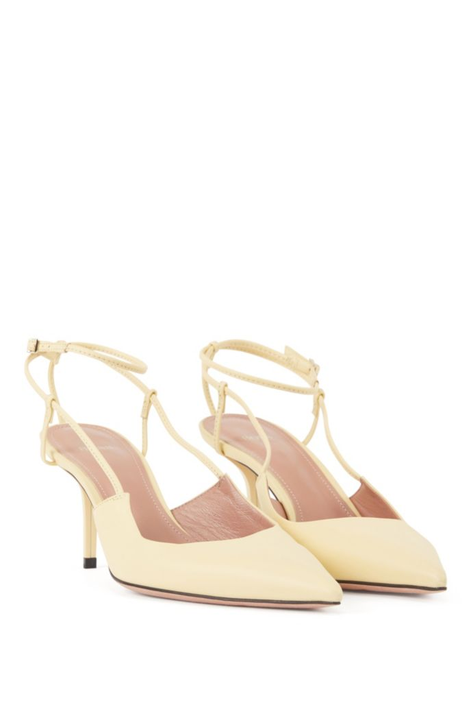 Heeled slingback pumps in Italian nappa leather