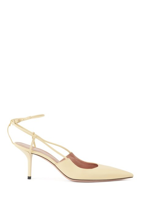 Heeled slingback pumps in Italian nappa leather, Light Yellow