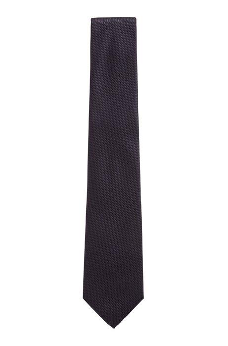 Italian-made tie in water-repellent silk jacquard, Dark Blue
