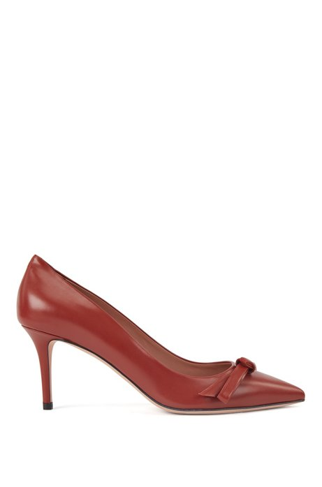 Heeled pumps in Italian leather with bow detail, Brown