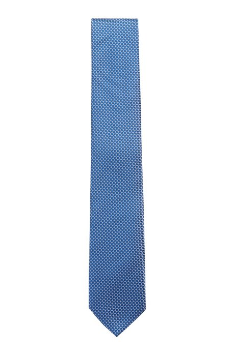 Micro-patterned tie in pure silk with water-repellency, Blue