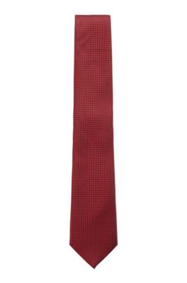 Micro-patterned tie in pure silk with water-repellency, Red