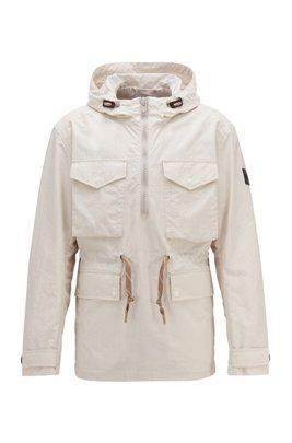 Hooded windbreaker jacket in lightweight crinkle fabric, White