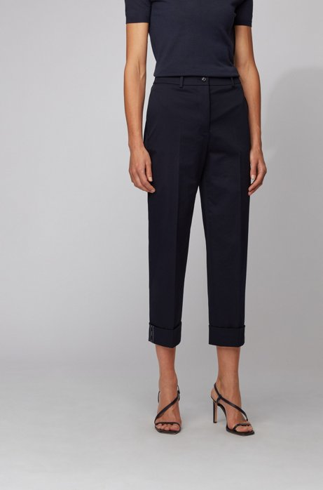 Relaxed-fit cropped pants in stretch-cotton twill, Light Blue