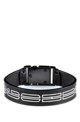 Italian-leather cuff with new-season logo print, Black