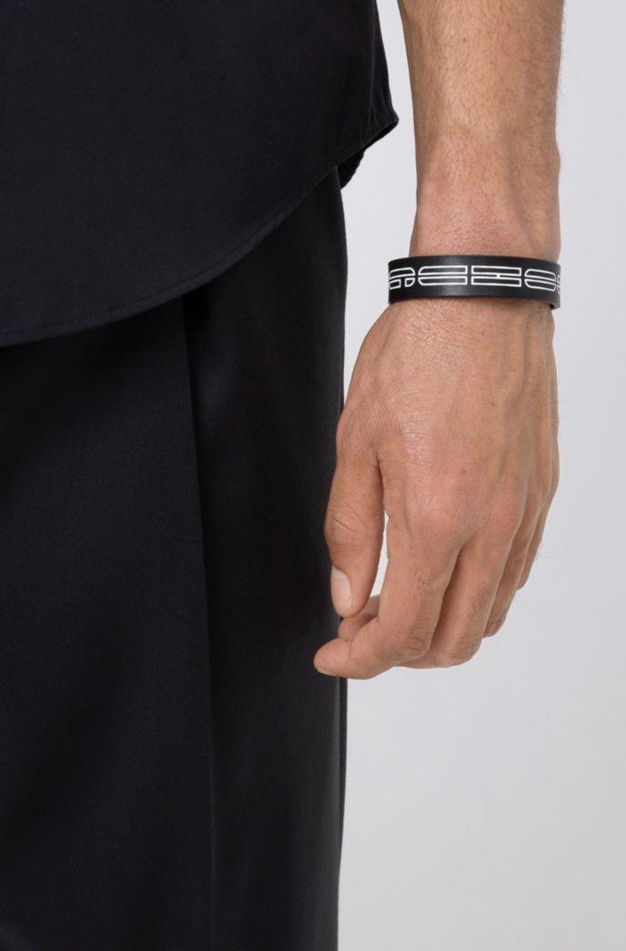 Italian-leather cuff with new-season logo print