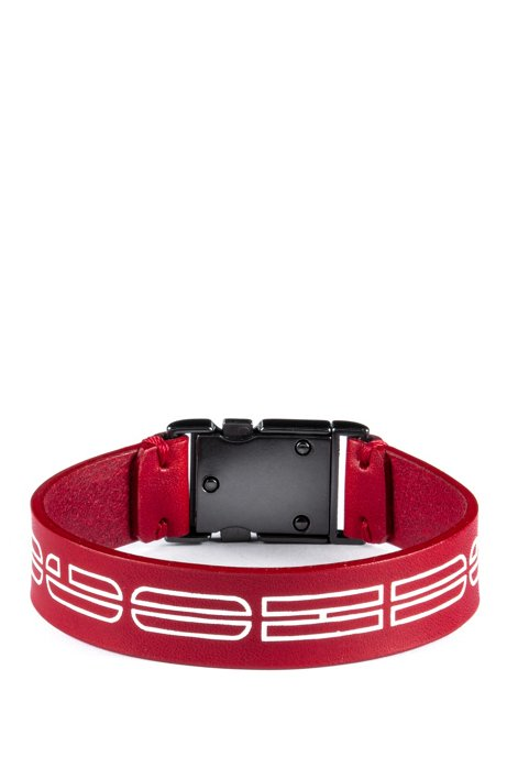Italian-leather cuff with new-season logo print, Red