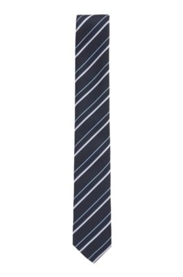 Italian-made striped tie in recycled fabric, Dark Blue